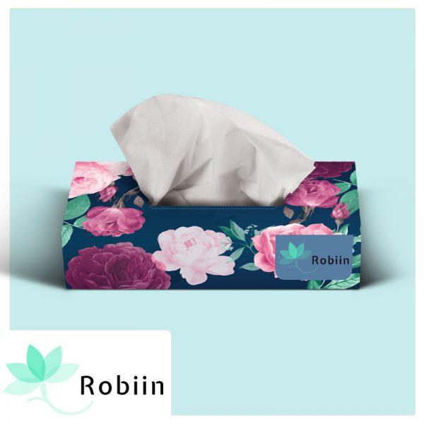 دستمال کاغذی جعبه ای روبین طرح گل